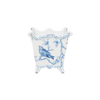Blue and White Porcelain Square Floral Bird Square Pot For Sale