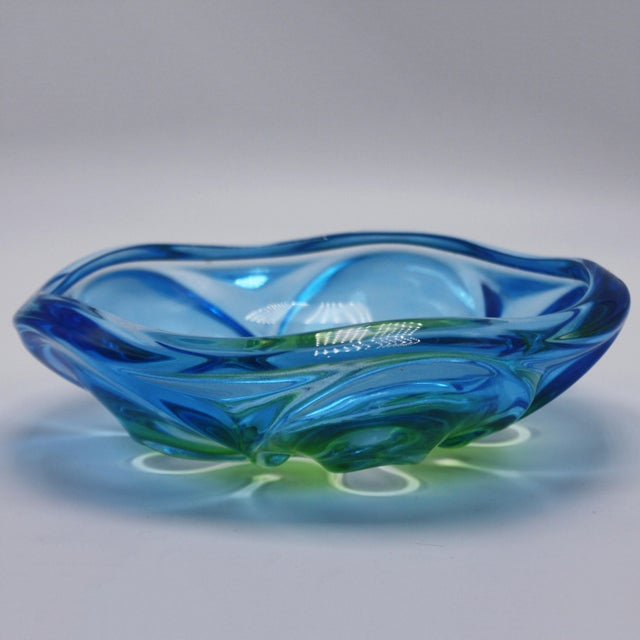 Blue & Green Murano Glass Bowl, C. 1970 For Sale - Image 4 of 6