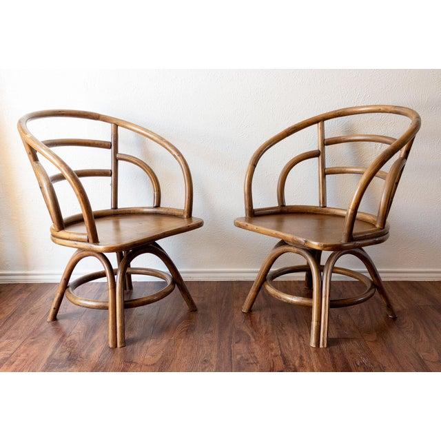 1960s Boho Chic Brown Jordan Rattan Swivel Chairs - a Pair For Sale - Image 13 of 13