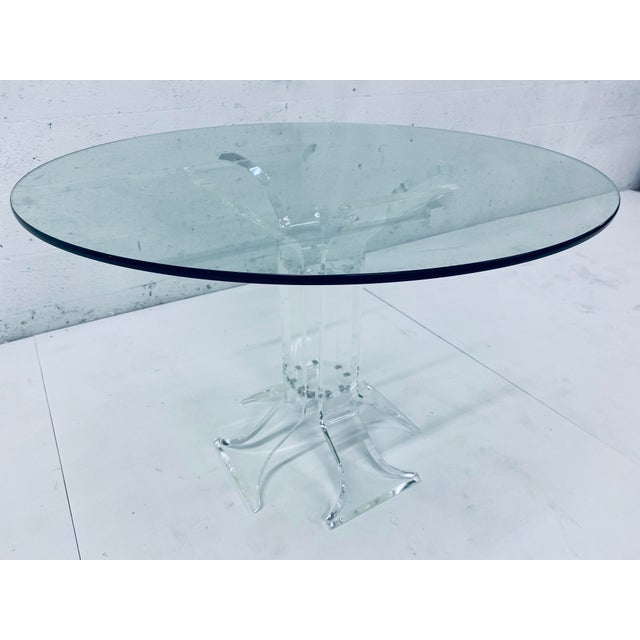 Mid-Century Modern Verano Lucite Dining Table With Glass Top For Sale - Image 3 of 13