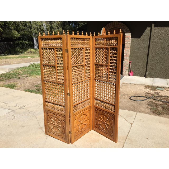 Vintage Carved Wooden Folding Screen For Sale - Image 4 of 4