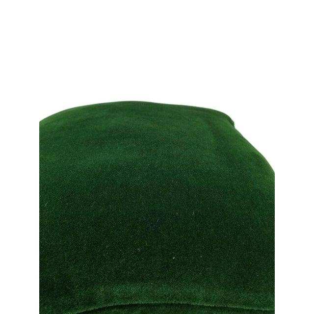 Pierre Frey Bold Mohair Velvet in Forest - Dark Emerald Green Mohair Velvet Lumbar Pillow For Sale - Image 4 of 6