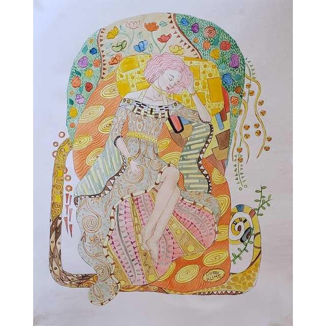 Art Nouveau Gustav Klimt Watercolor Painting - Accompanying Certificate For Sale - Image 3 of 7