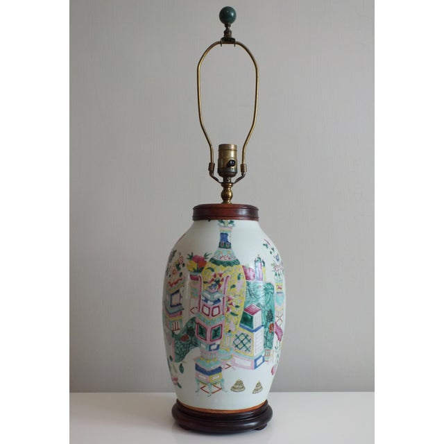 Antique Asian Famille Rose Lamp - Image 2 of 11