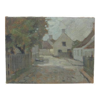 Vintage Original European Cityscape Brugges Belgium Signed Oil Early 20th Century For Sale