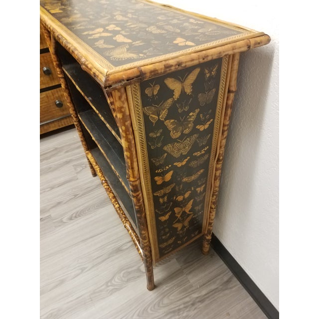 Antique English Bamboo Decoupaged Bookcase With Butterflies For Sale In Dallas - Image 6 of 13