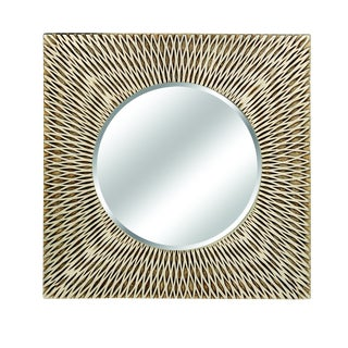 Bali Basket Weave Texture Square Wall Mirror For Sale