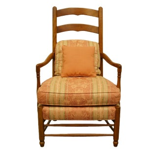 Late 20th Century Hickory Chair Co. Aged Cherry Ladderback Accent Arm Chair For Sale