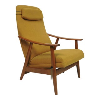 Danish Modern High Back Teak Rocker Recliner Chair by Arnt Lande For Sale