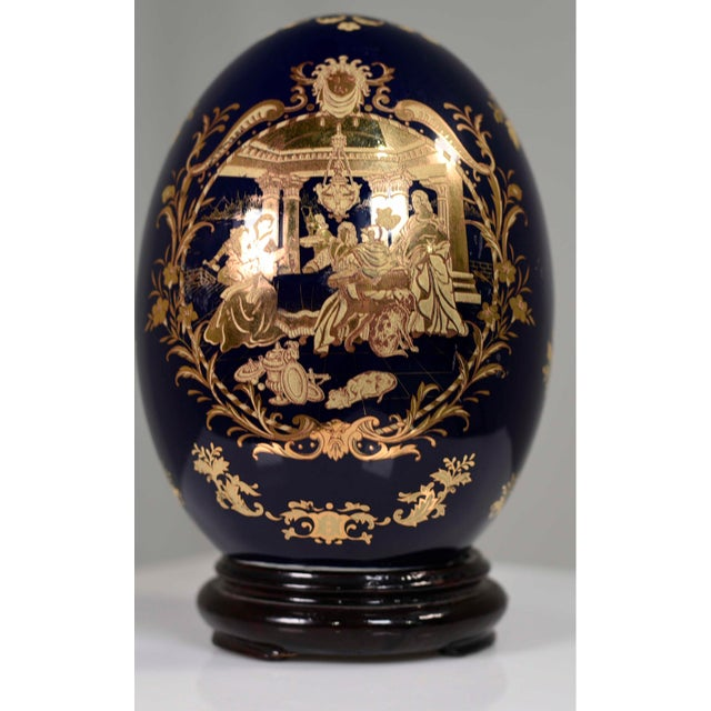 Cobalt Blue and Gold Decorative Egg With Classical Greek Scene Rosewood Base For Sale - Image 12 of 13