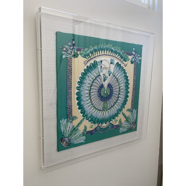 Modern Hermès Brazil Scarf in Acrylic Frame on Linen For Sale - Image 3 of 5