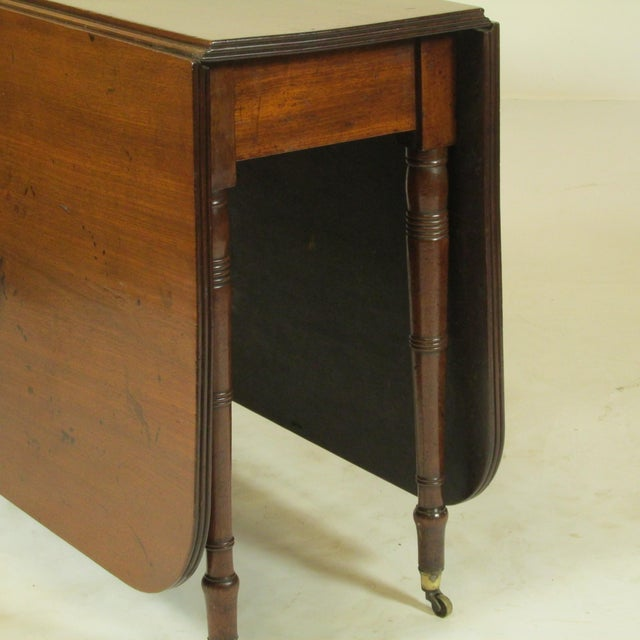 19th Century Regency Drop Leaf Mahogany Table For Sale - Image 4 of 12