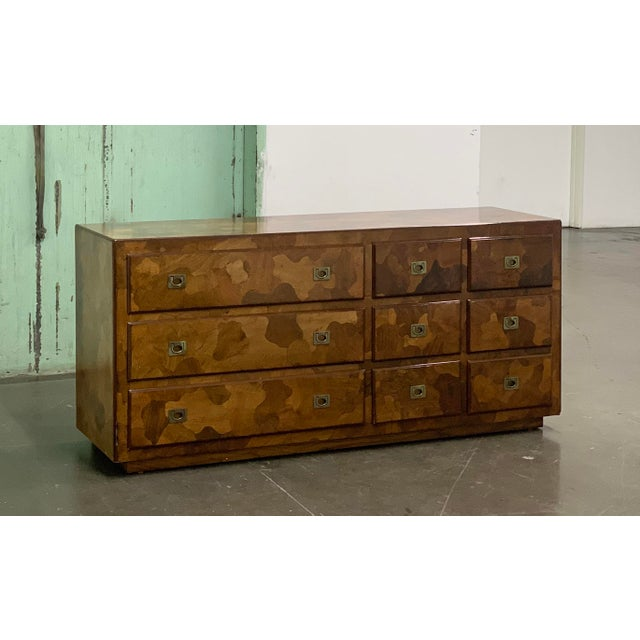 """Copper 1960s American of Martinsville """"Mosaics"""" Campaign Style Dresser For Sale - Image 8 of 10"""