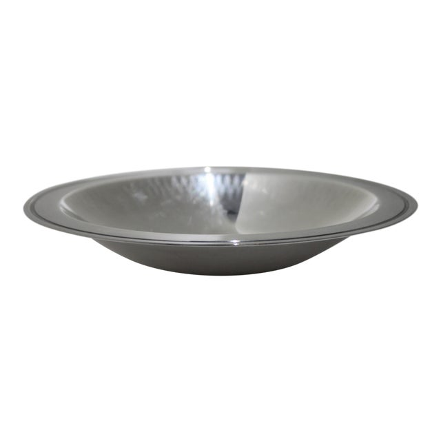 Silver Plated 1950s Embossed Edge Bowl or Dish by Wmf Ikora Germany For Sale