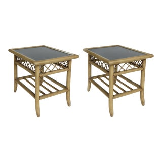 Vintage Rattan & Laminate Side Table- a Pair