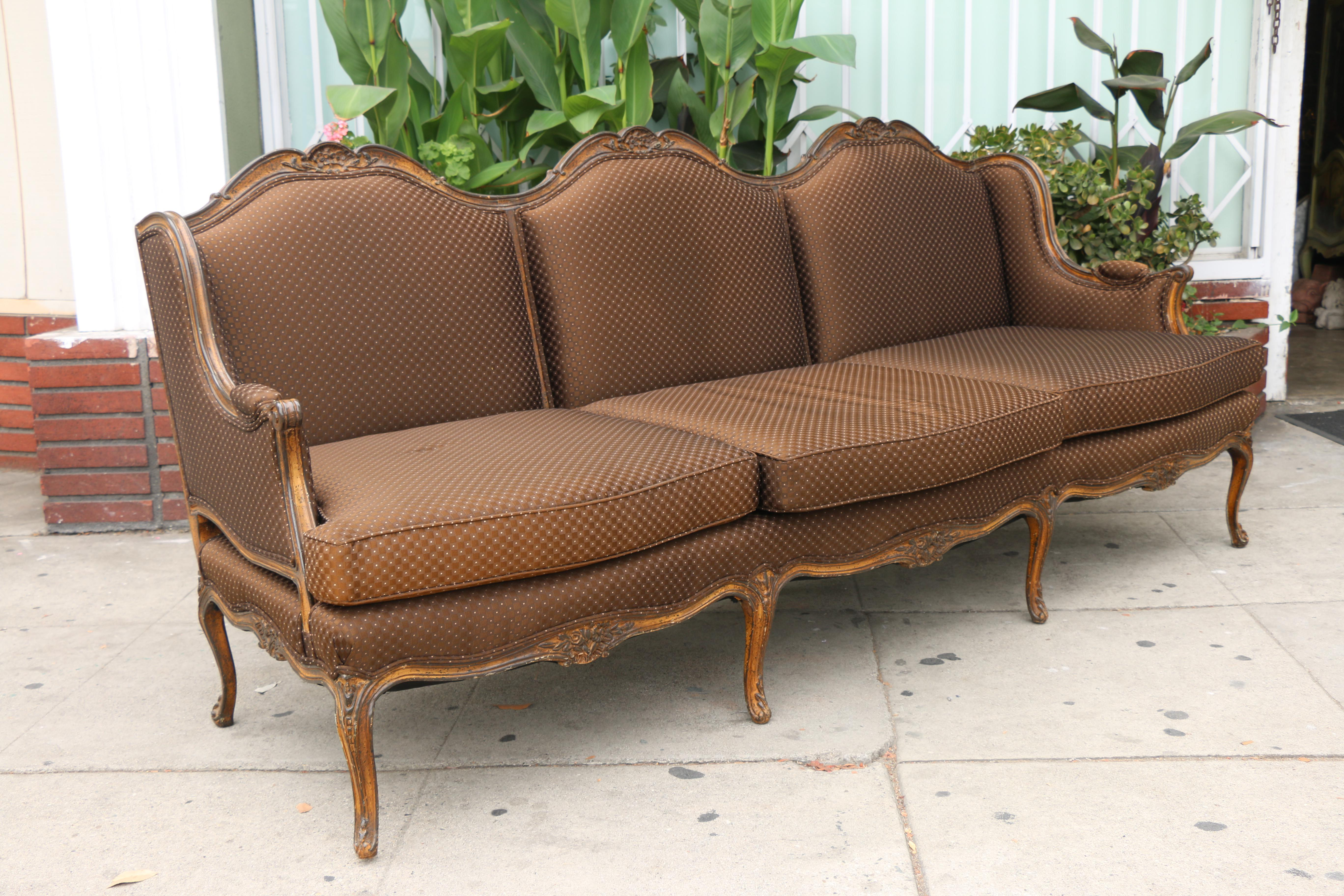Vintage French Style Sofa With Original Fabric. Fabric Is Well Kept As Well  As Very