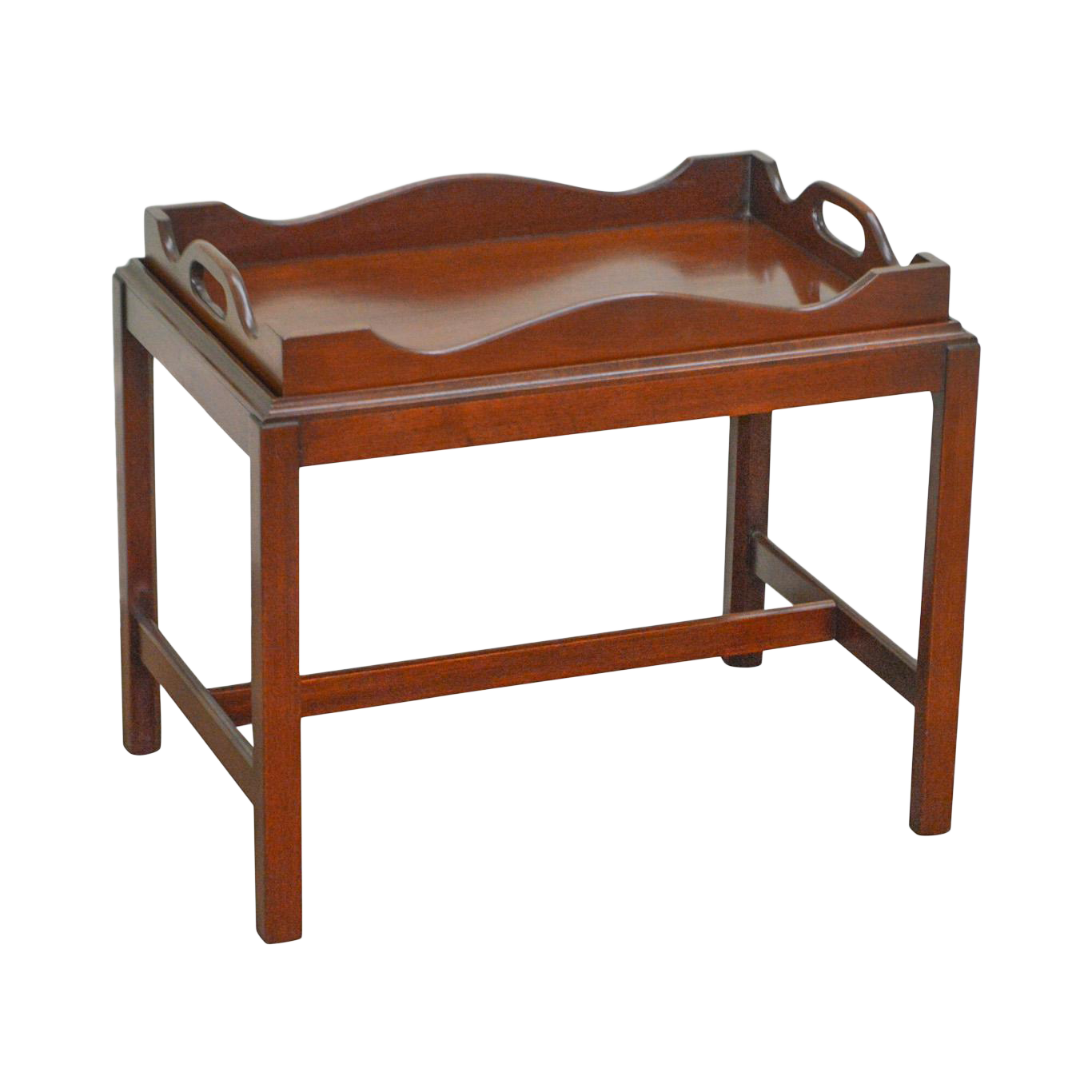 Merveilleux Chippendale Style Custom Mahogany Butlers Tray Top Coffee Table