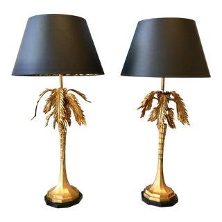Vintage 1960s Gold Leaf Palm Lamps - a Pair For Sale