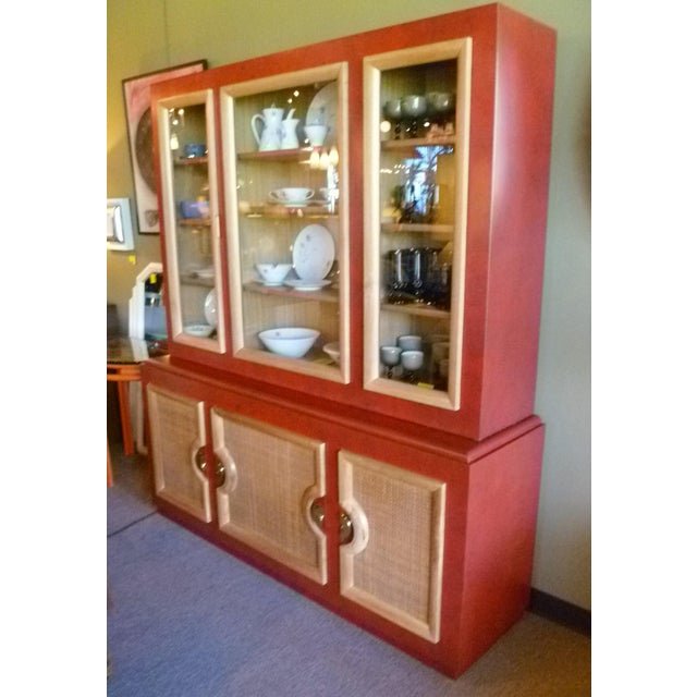 Asian 1940s Antique Paul Laszlo Style Faux Red Leather Finished Buffet / Breakfront For Sale - Image 3 of 13