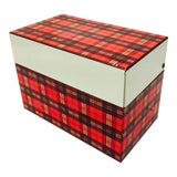 Image of Vintage Mid-Century Red Plaid Box For Sale