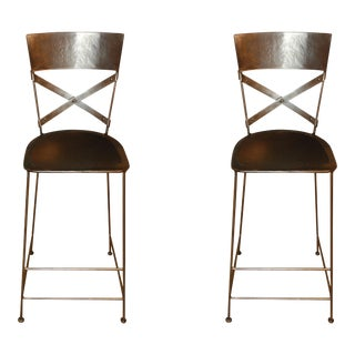 """X"" Back Barstools - A Pair For Sale"