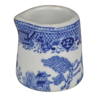Antique Blue Willow Transferware Individual Creamer For Sale