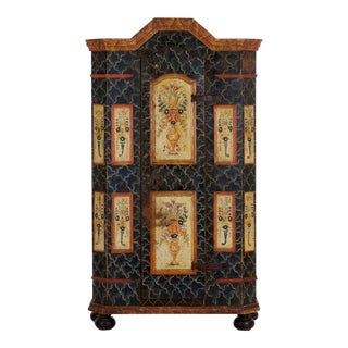19th Century Antique Painted Armoire Cabinet Circa Late 19th Century For Sale