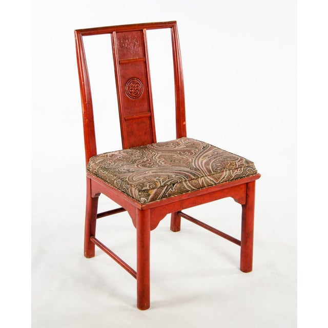 Early 20th Century Early 20th Century Vintage Thomasville Chinese Style Red Lacquer and Upholstered Dining Chairs - Set of 6 For Sale - Image 5 of 13