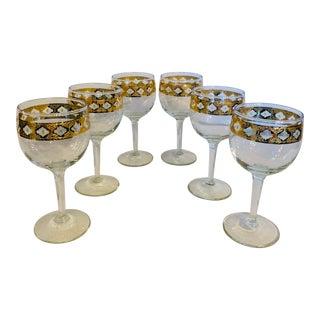 Vintage Culver Valencia Green & Gold Leaf Wine Glasses - Set of 6 For Sale