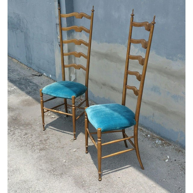 Gio Ponti 1950's Italian Exaggerated Ladder Back Chairs - a Pair For Sale - Image 4 of 7