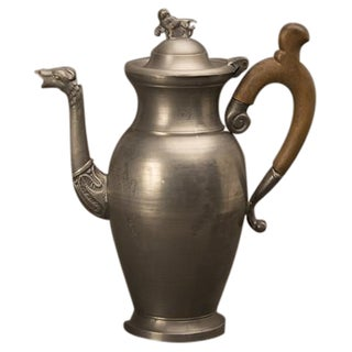 Large Pewter Coffee Pot, Germany c. 1900, Original Wooden Handle