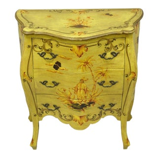 Vintage Italian Hand Painted Yellow Chinoiserie Chest For Sale