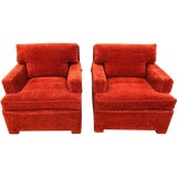 Image of 1950s Mid-Century Modern Edward Wormley for Dunbar Orange Rust Lounge Chairs - a Pair For Sale