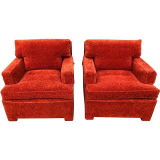 1950's Mid-Century Modern Edward Wormley for Dunbar Rust Orange Lounge Chairs - a Pair For Sale