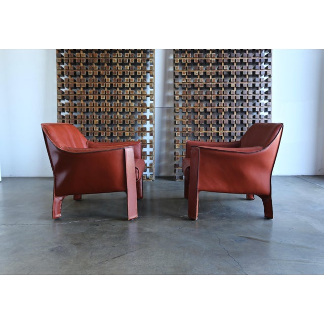 Cassina Mario Bellini for Cassina Large Cab Lounge Chairs - a Pair For Sale - Image 4 of 13