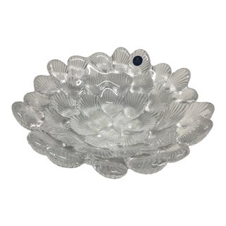 1950s Danish Crystal Clam Shell Bowl by Royal Copenhagen For Sale