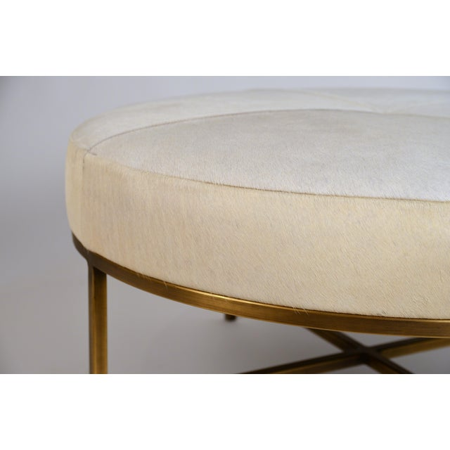 Small White Hide and Patinated Brass 'Tambour' Ottoman by Design Frères For Sale In Los Angeles - Image 6 of 9