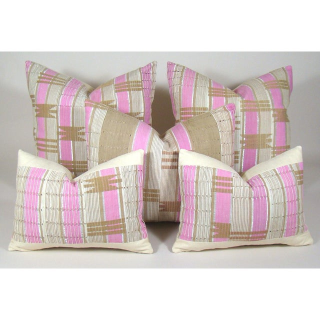 African Boho Chic Handwoven Aso Oke Khaki and Pink Cotton Pillow Cover For Sale - Image 9 of 11
