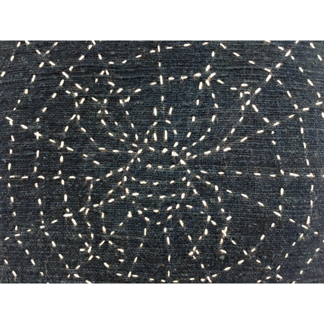 Antique Indigo Pillow with Hand Stitched Spider Web - Image 4 of 7