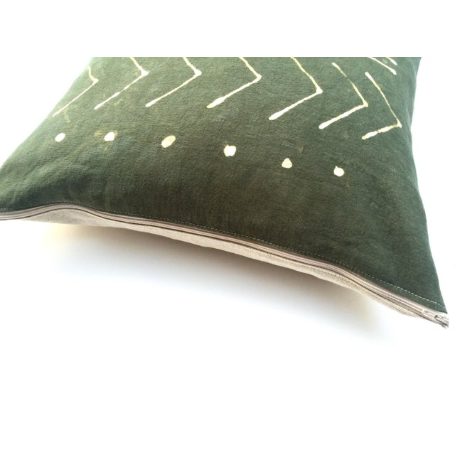 Hand-Dyed Dark Green Tribal Pillow Cover - Image 4 of 5