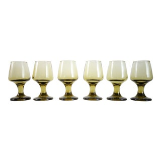 Mid-Century Smoky Brown Liquor Glasses - Set of 6