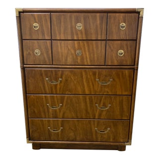 1970s Campaign Drexel Accolade Tall Dresser High Boy For Sale