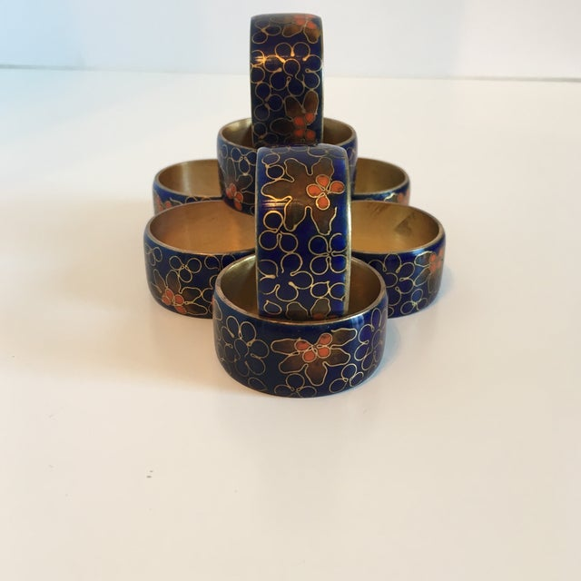 Blue Cloisonné Napkin Rings - Set of 8 - Image 5 of 8