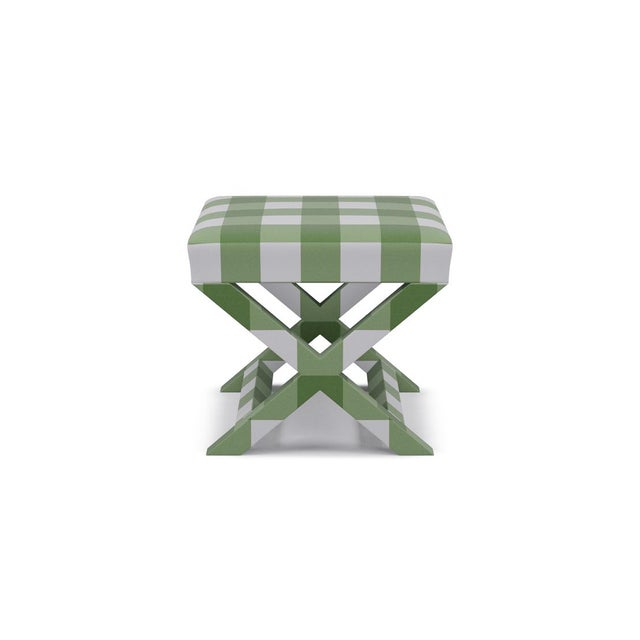 The Inside X Bench in Mint Check For Sale - Image 4 of 4