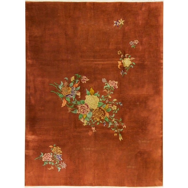 Contemporary Hand Woven Brown Floral Wool Rug - 9'0 X 12'0 For Sale - Image 4 of 4