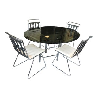 1970s Space Age Chrome and Lucite Dining Room Set - 5 Pieces For Sale