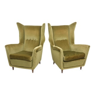 Large and Imposing Pair of Italian Modern Lounge Chairs in Gio Ponti Style For Sale