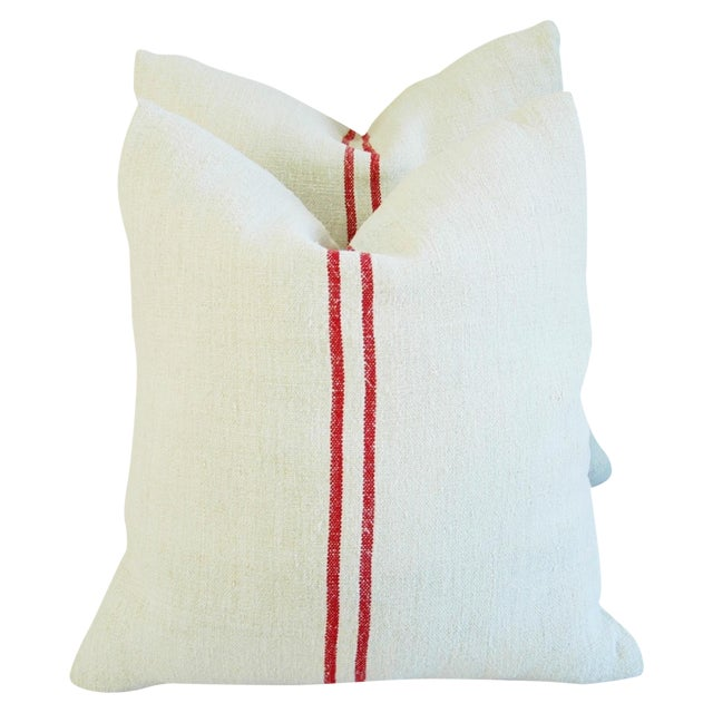 French Grain Sack Pillows - A Pair - Image 1 of 11