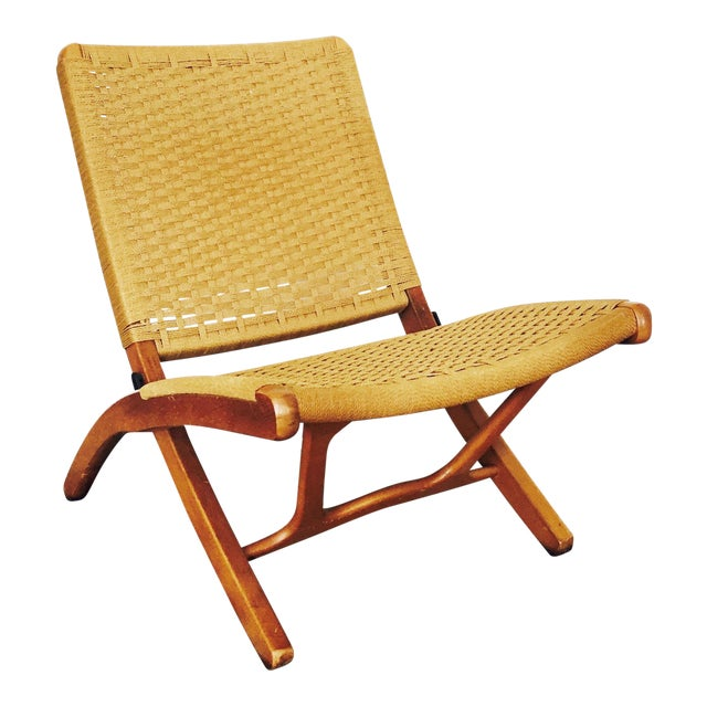Mid Century Hans Wegner Style Folding Rope Chair For Sale