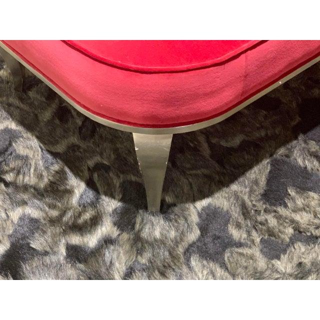 Christopher Guy Christopher Guy Red Velvet Lounge Chaise For Sale - Image 4 of 6